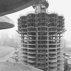 Marina City construction over Wacker Drive and the Chicago River c. (Архитектурный Журнал) Tags: c chicago city construction drive over river wacker марина