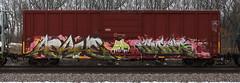Asahe/Emer (quiet-silence) Tags: graffiti graff freight fr8 train railroad railcar art asahe emer end uti boxcar bkty bkty153916