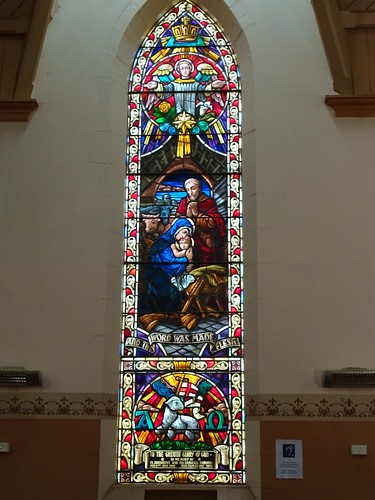 Forbes. Beautiful narrow stained glass window in the Forbes Anglican Church.