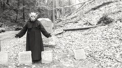 Visiting old friends for the holidays (PhotoJester40) Tags: outdoors outside male gargoyle paradox mask posing visitingoldfriends blackwhite bnw blackandwhite blacknwhite bw cemetery noirblanc visitation lakeforestcemetery