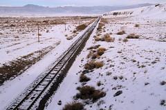 Cold Rails (arbyreed) Tags: arbyreed train traintracks railroadline unionpacificrailroad greenriver emerycontyutah snow winter cold perspective vanishingpointperspective desert