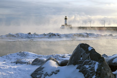 Steam on Lake Superior in Duluth (Lucie Maru) Tags: duluth lake lakesuperior steam cold winter bittercold freezing frost snow ice water lighthouse morning fog