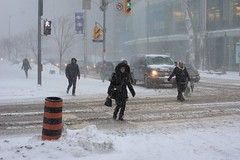 028 -1crp1stpf (citatus) Tags: pedestrians crossing street yonge bloor snowstorm snow storm toronto canada winter afternoon 2019 pentax k3 ii sidewalk snowy