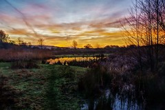 Morning pond (Sundornvic) Tags: hdr sunrise pond water sun sky trees colour light morning shropshire clouds reeds