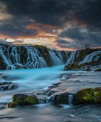 On The Top Of The World (Kristinn R.) Tags: iceland brúarfoss waterfall water clouds sunset rocks moss nikon d 800e kristinnr nikonphotography