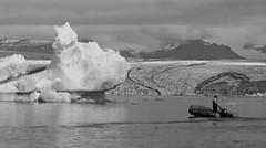 Berg Visit (peterkelly) Tags: bw digital europe iceland canon 6d gadventures bestoficeland jökulsárlónglacierlagoon glacier ice berg boat water man zodiac