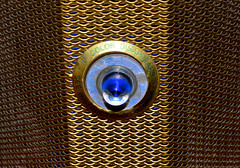 Evergard Fire Alarm (donjuanmon) Tags: donjuanmon nikon macro macromondays hmm safety theme firealarm siren freon metal glass midcentury 1950s gold blue silver modern