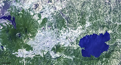 Lake Ilopango, a crater lake which fills a volcanic caldera in central El Salvador. Original from NASA. Digitally enhanced by rawpixel.