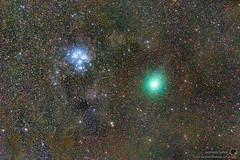 Pleiades and Comet 46/P Wirtanen. (Sky Watchers Association of North Bengal - SWAN - ) Tags: pleiades comet 46p wirtanen d7000 nikon nikkor sky watcher star adventurer astronomy astrophotography astro astrophysics skywatching skywatchersindia night astrometrydotnet:id=nova3143591 astrometrydotnet:status=solved