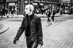 The Bald and the Beautiful (Leanne Boulton) Tags: urban street candid portrait portraiture profile streetphotography candidstreetphotography candidportrait streetportrait streetlife woman female girl face expression mood feeling style fashion bald alternative piercing striking beauty beautiful mannequin tone texture detail depthoffield bokeh naturallight outdoor light shade city scene human life living humanity society culture lifestyle people canon canon5dmkiii 50mm primelens ef50mmf14usm black white blackwhite bw mono blackandwhite monochrome glasgow scotland uk leanneboulton