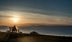 Happy bench Monday..xx (shona.2) Tags: estuary firthofforth papsoffife hills tanker ship scotland setting sun northsea view seasidebeach resting watching graeme man sunset hbm benchmonday