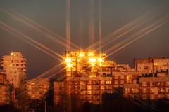 Star filter at sunrise, reflecting in the windows. Also, the TZ200 has dust issues =) (Sebastian Pier Filip) Tags: tz200 zs200 panasonic lumix pocketablecamera compact pointandshoot pointnshoot sofia bulgaria urban starfilter filter hoyasixstar sunrise