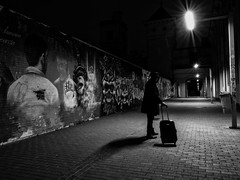for Christmas, do you go or come back- (muntsa-joan-BW) Tags: street streetphoto streetphotography blackandwhite bw bnw night noche graffiti art shadows sombras solitud solitude dark