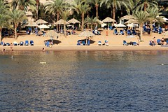 Jordan Aqaba (rolfij) Tags: jordan aqaba beach parasol sand palmtree redsea