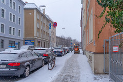 Snow in the City (suzanne~) Tags: snow bicycle munich bavaria germany