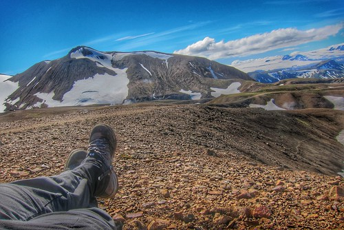 Iceland ~ Landmannalaugar Route ~  Ultramarathon is held on the route each July - Hiking to new campsite