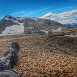 Iceland ~ Landmannalaugar Route ~  Ultramarathon is held on the route each July - Hiking to new campsite thumbnail