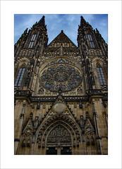 Stone work (prendergasttony) Tags: praha prague nikon d7200 church outdoors stonework architecture europe sky windows masonary stainedglass doors arches gothic rosewindow
