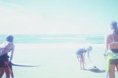Charli, Georgie, Holly (heatswell) Tags: 35mm film analogue analog retro vintage coastal mornington peninsula australia australian girl girls summer day warm hot sun sunny tanned coast holiday campground school holidays surfers surfing long blonde hair beachy teens teenage teenagers 18 eighteen year olds 18yo young youth youthful water wet sea ocean surf reef break town beach sand bikini swimwear swimsuit bathers pretty cute beautiful gorgeous attractive skinny thin fit heat wave waves faded group of surfboard surfboards board boards trip