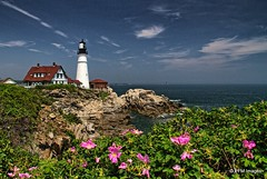 Portland Head Light (pandt) Tags: portland head light headlight lighthouse flowers water coast coastal maine sky clouds ocean sea harbor cascobay historic rock rocky coastline outdoor waterscape landscape flickr blue white green red pink canon eos slr 7d america northeast newengland