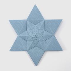 Lucky Star Fractal (Michał Kosmulski) Tags: origami star fractal selfsimilarity michałkosmulski haligamihalinarościszewskanarloch shuzofujimoto edokosomepaper blue