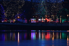 Lights reflecting in the river (Marcy O) Tags: lacrosse wisconsin christmas lights 2018