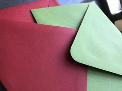Red and clover envelopes (artnoose) Tags: source paper a2 envelope envelopes green clover red