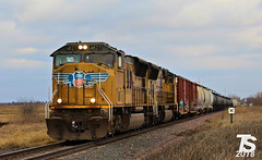 UP 4827 Leads SB Manifest Iowa Falls, IA 12-23-18 (KansasScanner) Tags: iowafalls ackley iowa bradford train railroad csx cn up iarr