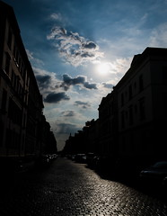 Sunset at the end of the street (mgschiavon) Tags: cities streets sunset sun germany