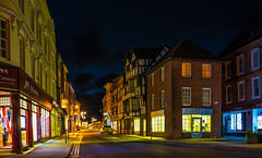 Ludlow Night Shoot (williamrandle) Tags: ludlow shropshire england uk2018 autumn lowlight nightphotography evening street shops buildings roads alleyways dark streetlight cobbles nikon d750 tamron2470mmvcf28 outdoor road pavement sidewalk