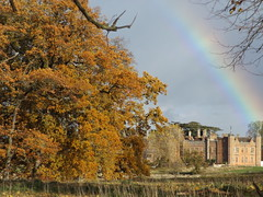 Autumn Scene at Charlecote Park, Warwickshire, 11 November 2018 (AndrewDixon2812) Tags: charlecote park warwickshire hampton lucy nationaltrust wellesbourne stratford autumn foliage leaves trees house mansion rainbow fall cloud