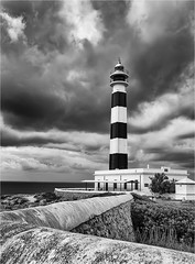 Storm over Cap d'Artrutx (Jims Fotos) Tags: lighthouse blackwhite monochrome canon moody menorca spain contrast dramatic sky