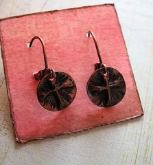 pure antiqued recycled copper repousse crosses 1 (msficklemedia) Tags: handforged artisanjewelry handcrafted earrings recycledmetal stone beads sterling silver missficklemedia