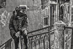 Gondolier Waiting (Andy J Newman) Tags: candid fuji gondolier italy man portrait street venice vulturelabs x100f