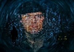 stranger at the door, hope its not my door :-) (teedee.) Tags: stranger door cold caller hard man dark spooky hoodie layers art composite