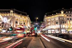Christmas Lights Oxford Street, London, England (Aethelweard) Tags: london england unitedkingdom gb night longexposure architecture colourful lighttrail urban street