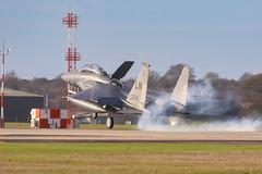 """Touchdown"" (cjf3 - f15tog) Tags: usaf unitedstatesairforce lakenheathafb raflakenheath 494thpanther 494thfightersquadron f15e libertywing 48thfighterwing burningrubber landing topgun fastjet crew runway canon 7dmk2"