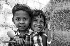 Siblings (srdinesh) Tags: brothersister cwc cwcwalk blackwhite bn portrait ennore canon children morning peace photography