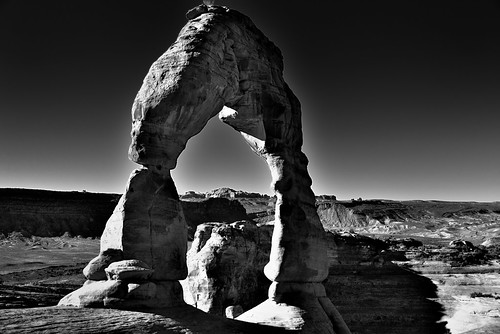An Angled Capture of Tonal Contrasts (Black & White, Arches National Park)