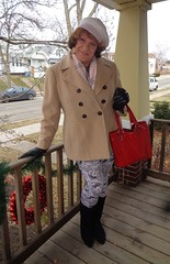 Yes, I Am A Girl, But That Doesn't Mean I Have To Wear A Skirt All The Time (Laurette Victoria) Tags: purse coat porch leggings boots hat auburn gloves laurette woman