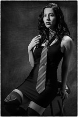 Andy; House of Slytherin. (drpeterrath) Tags: bw monochrome portrait people popular woman female actress celebrity lady girl lbd black dress blackwhite profoto slytherin indoor