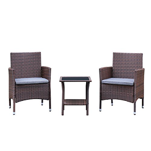 Cheap Azure Sky 3 Pieces Outdoor Chair Sets Rattan Outdoor Patio Furniture Sets Garden Lawn Sofa PE Wicker Sofa with Seat Cushions (Brown)