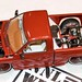 Super custom pick-up truck with independent rear suspension and big wheels, slammed