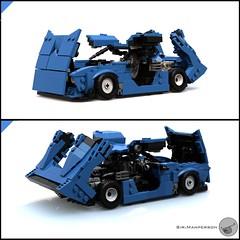 80's Supercar all open - Miniland scale - Lego (Sir.Manperson) Tags: lego moc 80s retro ldd render miniland