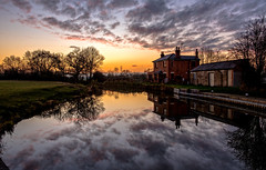 Lock keepers cottage (Peter Leigh50) Tags: canal grand union water winter reflection reflections sky skyscape clouds evening house cottage building trees fujifilm fuji xt2 landscape