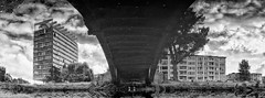 A reflection. Under the bridge, there's dirty water (◄bl►) Tags: antwerp antwerpen bw belgium belgië cvkc europe flanders landscape landschap nikcolorefexpro niksilverefexpro panoramastitch vlaanderen architectural architecture blackwhite blackandwhite cityscape structures canoneos5d ef1740mmf4lusm 1160secatf63 iso100 geotagged be