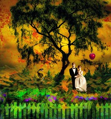 Bride and Groom in the Garden of Eden (Rusty Russ) Tags: graden eden bride groom bliss heaven wedding flowers tree life colorful day digital window flickr country bright happy colour eos scenic america world sunset beach water sky red nature blue white green art light sun cloud park landscape summer city yellow people old new photoshop google bing yahoo stumbleupon getty national geographic creative composite manipulation hue pinterest blog twitter comons wiki pixel artistic topaz filter on1 sunshine image reddit tinder russ seidel facebook