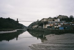 Avon Viewpoint, New Year's Eve (knautia) Tags: newyearseve g december 2018 riveravon avonviewpoint footprints cumberlandbasin mud river avon bristol england uk film ishootfilm olympus xa2 fuji superia 400iso olympusxa2 cliftonsuspensionbridge reflection