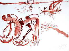 AFRICA TO THE NAKED oxid 23 (eduard muntada) Tags: africa to the naked 23 river mountains sun light africanpeople boat expressionism simplicity