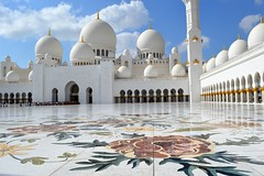 Sheikh Zayed Grand Mosque (Seventh Heaven Photography *) Tags: abu dhabi uae united arab emirates white marble floor flowers arches domes minaret sky clouds nikon d3200